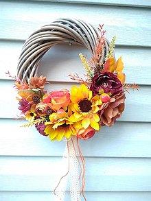 Dekorácie - jesenný veniec so slnečnicami - 13786945_