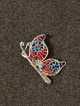 Brošne - Motýľ červeno-modrý - brošňa - 13784737_