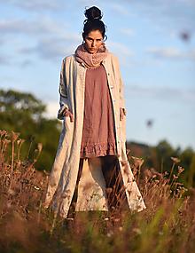Kabáty - Lněný kabát Režný - 13788325_