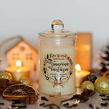Svietidlá a sviečky - Sviečka zo sójového vosku v skle - Vianočná Fantázia - 13790609_