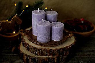 Svietidlá a sviečky - Mrazivé adventné sviečky  - svetlo fialové - 13791120_