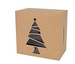 Obalový materiál - Krabička vianočná 10 x 10 x 6 cm  (Stromček) - 13792454_