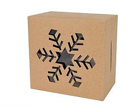 Obalový materiál - Krabička vianočná 10 x 10 x 6 cm  (Vločka) - 13792455_