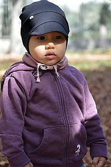 Detské čiapky - Čiapka do vetra so šiltom čierna - 13789433_