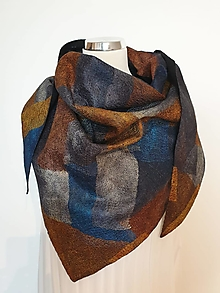 Šatky - Trojuholníkový vlnený šál s hodvábnou patchwork textúrou - 13790059_