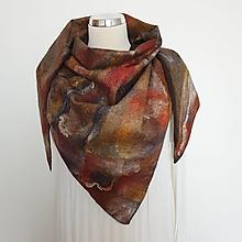 Šatky - Trojuholníkový vlnený šál s hodvábnou textúrou - 13790697_