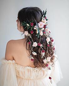 """Ozdoby do vlasov - Kvetinová aplikácia """"pierko vo vetre"""" - 13795581_"""
