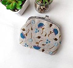 Peňaženky - Peňaženka XL Modré kvety (s kapsičkami) - 13793468_
