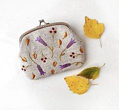 Peňaženky - Peňaženka XL Fialové zvončeky (s kapsičkami) - 13793511_