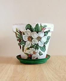 Nádoby - vianočný terakotový kvetináč - 13796463_