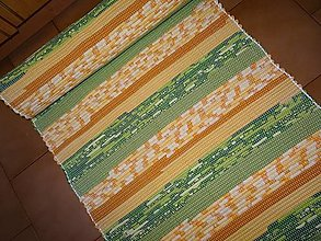 Úžitkový textil - Tkaný koberec zeleno-oranžový - 13796468_