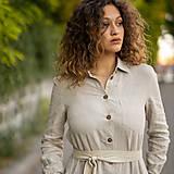 Šaty - Ľanové šaty Larisa prírodná - 13800103_