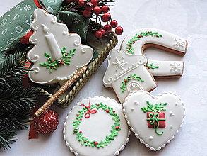 Dekorácie - Medovníčky vianočné zelená+červená 5 ks - 13798984_