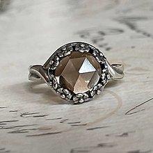 Prstene - Smoky Quartz Filigree Flower AG925 Silver Ring  / Strieborný prsteň so záhnedou - 13799328_