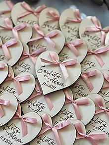 Darčeky pre svadobčanov - Svadobné magnetky srdiečko s mašličkou staroružovou - 13797757_