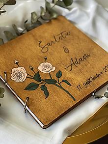 Papiernictvo - Svadobná kniha hostí, drevený fotoalbum - Ruže - 13798468_