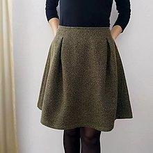 Sukne - Vlnená sukňa rybia kosť zeleno/čierna AJ V MIDI DĹŽKE - 13798493_
