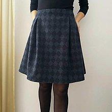 Sukne - Vlnená sukňa modro/čierna - 13798537_