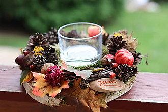 Dekorácie - Jesenný svietnik - 13798182_