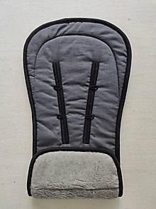 Textil - VLNIENKA podložka do kočíka THULE  Urban Glide 2 100% MERINO TOP SUPER WASH Grey 100% ľan Antracit ju - 13800692_