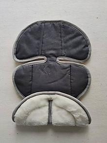 Textil - VLNIENKA podložka do autosedačky Klippan Dinofix vajíčko 100% Merino proti poteniu a prehriatiu 100% ľan Antracit - 13800725_