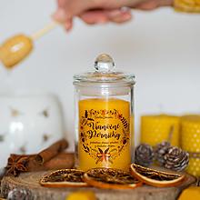 Svietidlá a sviečky - Sviečka zo 100% včelieho vosku v skle - Vianočné perníčky - 13799907_
