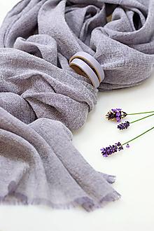 Šály - Exkluzívny ľanovo-vlnený šál šedofialovej farby s remienkom - 13797802_