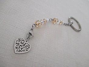 Kľúčenky - Kľúčenka - srdce - krištáľ - aura - chirurgická oceľ - 13799265_