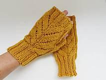 Rukavice - Rukavice bez prstov - žlté listy (vlna+alpaka) - 13799628_