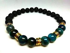 Šperky - Pánsky náramok tigrie oko modré s lávou - 13800803_