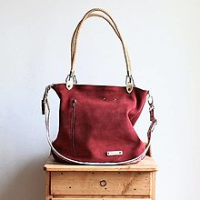 Veľké tašky - Kožená kabelka Klasik Daily *Ruby* - 13800105_