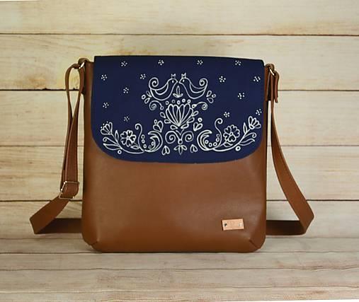 Kožená modrotlačová kabelka Brigita AM