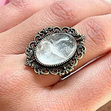 Prstene - Crystal Quartz Vintage Bronze Ring / Prsteň s horským krištáľom - 13803961_