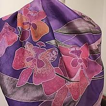 Šatky - Hodvábna šatka Orchidea - 13804231_