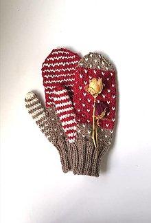 Rukavice - Hnedo červené palčiaky - 13803468_