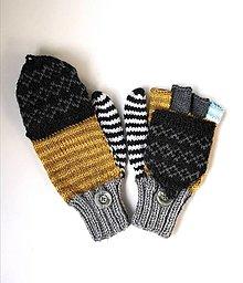 Rukavice - Šedo-horčicové palčiaky otváracie s čierno sivou klapkou - 13805180_