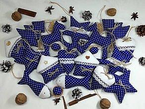 Dekorácie - Vianočné ozdoby modré - 13803761_