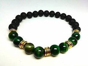 Šperky - Pánsky náramok tigrie oko zelené s lávou - 13804248_