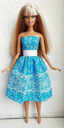 Hračky - Kvietkové midi šaty pre Barbie - 13802962_