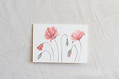 Papiernictvo - Akvarelová pohľadnica | botanická ilustrácia Maku vlčieho II. - 13803914_