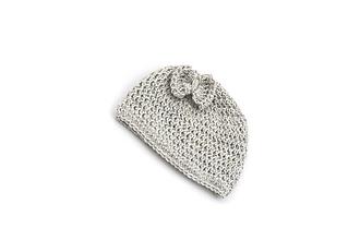 Detské čiapky - Sivá čiapka s mašličkou ALPACA - 13803596_
