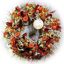 Dekorácie - Věnec přírodní - Vínové listy s bílou tatarikou - 13802173_