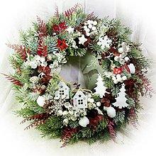 Dekorácie - Vánoční věnec - červeno-bílá krajinka - 13802179_
