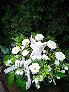 Dekorácie - ikebana biela s anjelom 50 cm - 13808062_