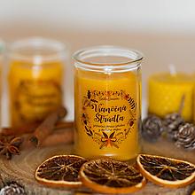 Svietidlá a sviečky - Sviečka zo 100% včelieho vosku v skle - Vianočná Štrúdľa - 13805873_