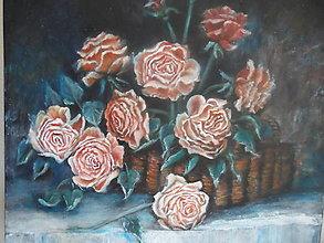 Obrazy - Ružičky v košíku - 13806050_