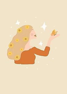 """Grafika - Ilustrácia """"Slečna s motýľom"""" - 13807013_"""