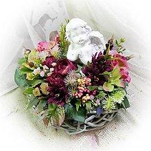 Dekorácie - Dušičkové hnízdečko - Andělíček a vínové kvítky - 13805570_