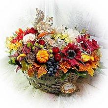 Dekorácie - Velká dekorace - Podzim s veverkou a ježkem - 13805586_