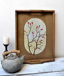 Nádoby - Drevená tácka-ručne maľovaná-Šípky - 13806950_